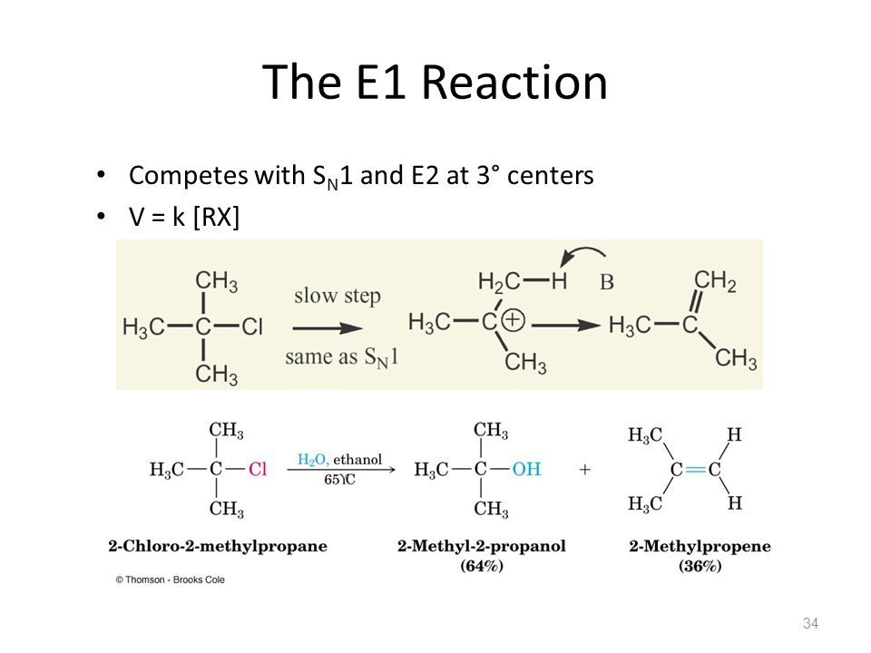The E1 Reaction Competes with SN1 and E2 at 3° centers V = k [RX]